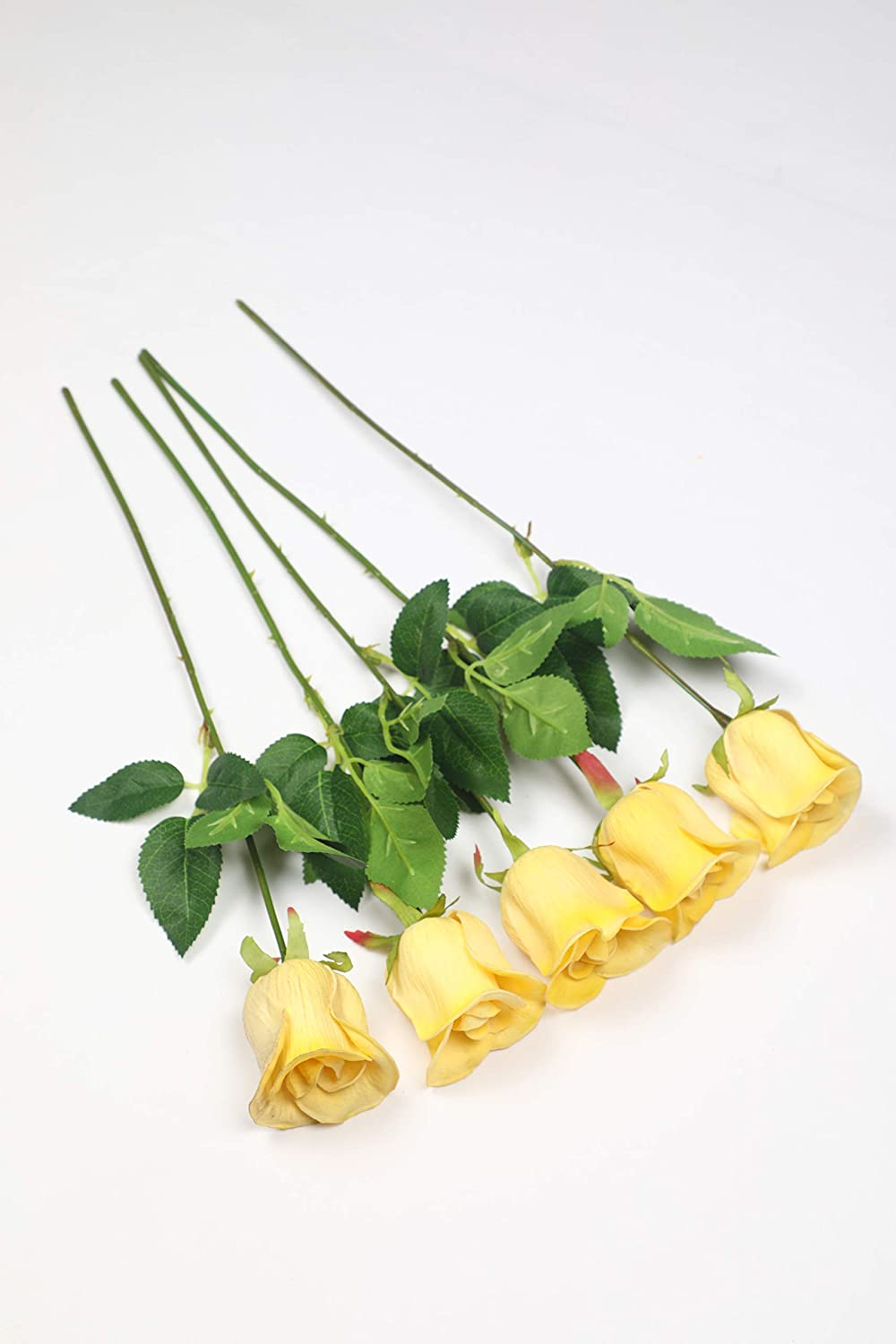 Pollination Luxurious Real Look Peach Rose Artificial Flowers for Home Office Restaurant Decoration (Pack of 5, 17 Inch) - Artificial Flowers & Plants - PolliNation