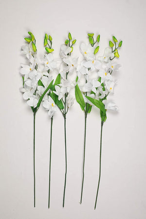 PolliNation Splendacious White Orchid Artificial Flowers for Decoration (Pack of 5, 26 Inch) - Artificial Flowers & Plants - PolliNation