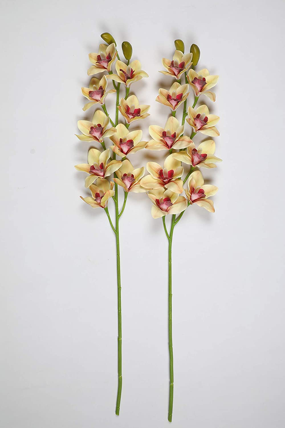 PolliNation Beautiful Artificial Brown Cymbidium Orchid Flower for Home Decoration (Pack of 2, 35 Inch) - Artificial Flowers & Plants - PolliNation