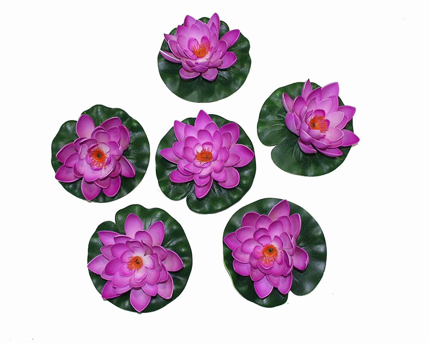 Pollination Blue Artificial Floating Lotus Flower for Decoration (Pack of 6, Diameter: 6 Inch) - Artificial Flowers & Plants - PolliNation