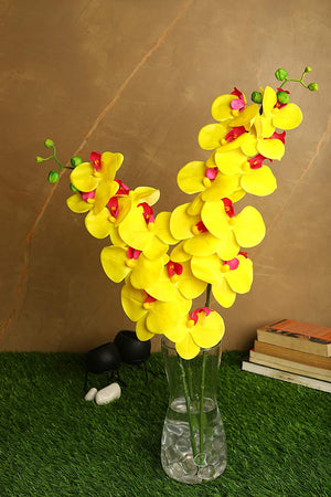 PolliNation Stunning Yellow Phalaenopsis Artificial Orchid Flower (Pack of 2)