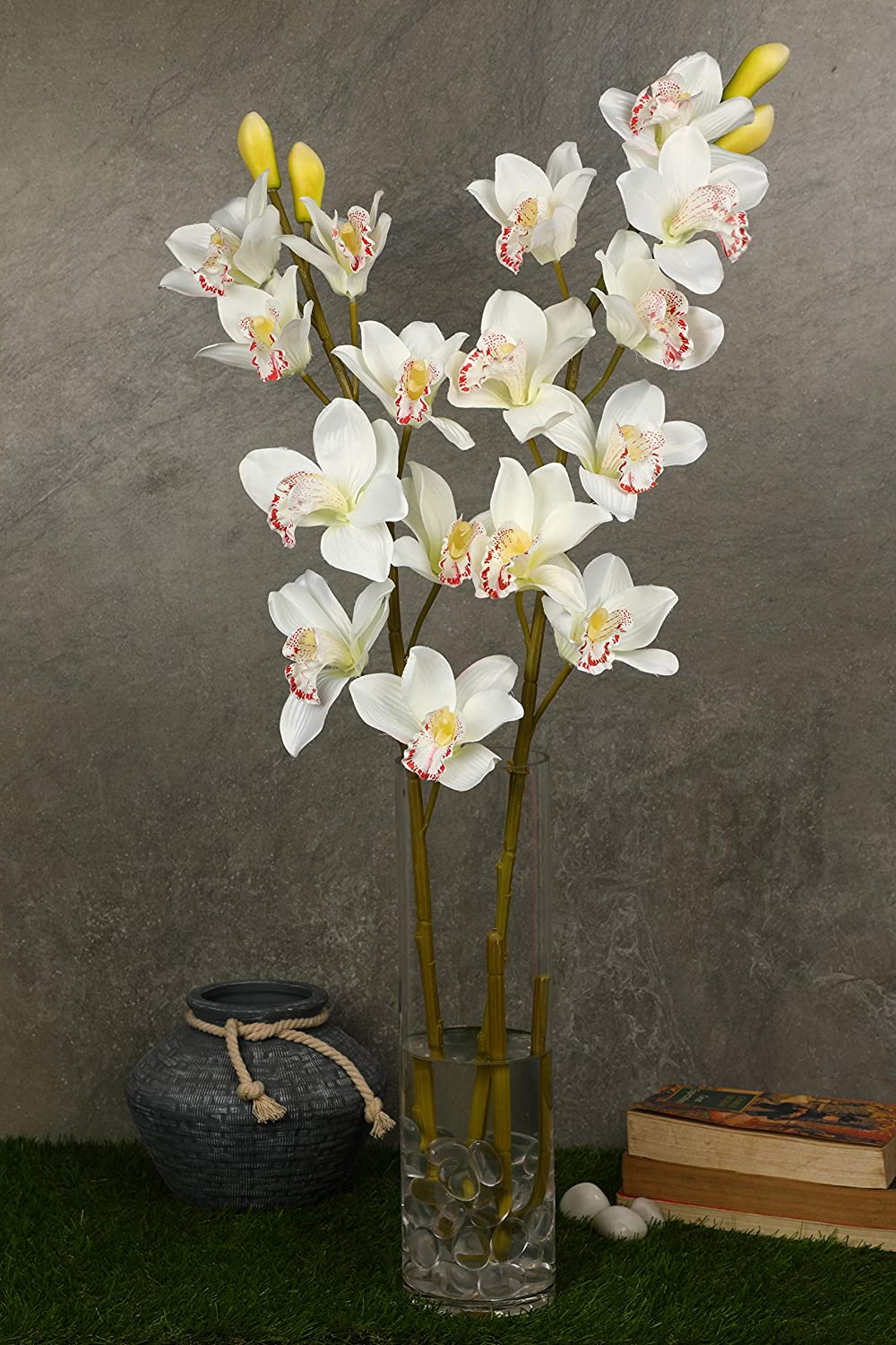 Pollination Radiant White Artificial Orchid Flowers for Indoor (Pack of 2, 38 INCH) - Artificial Flowers & Plants - PolliNation