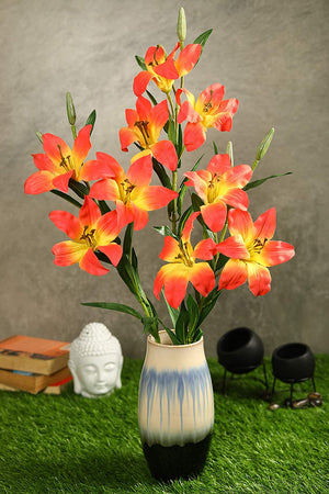 PolliNation Exotic Orange Lily Artificial Flower for Living Room Office Desk (Pack of 3, 28 INCH) - Artificial Flowers & Plants - PolliNation