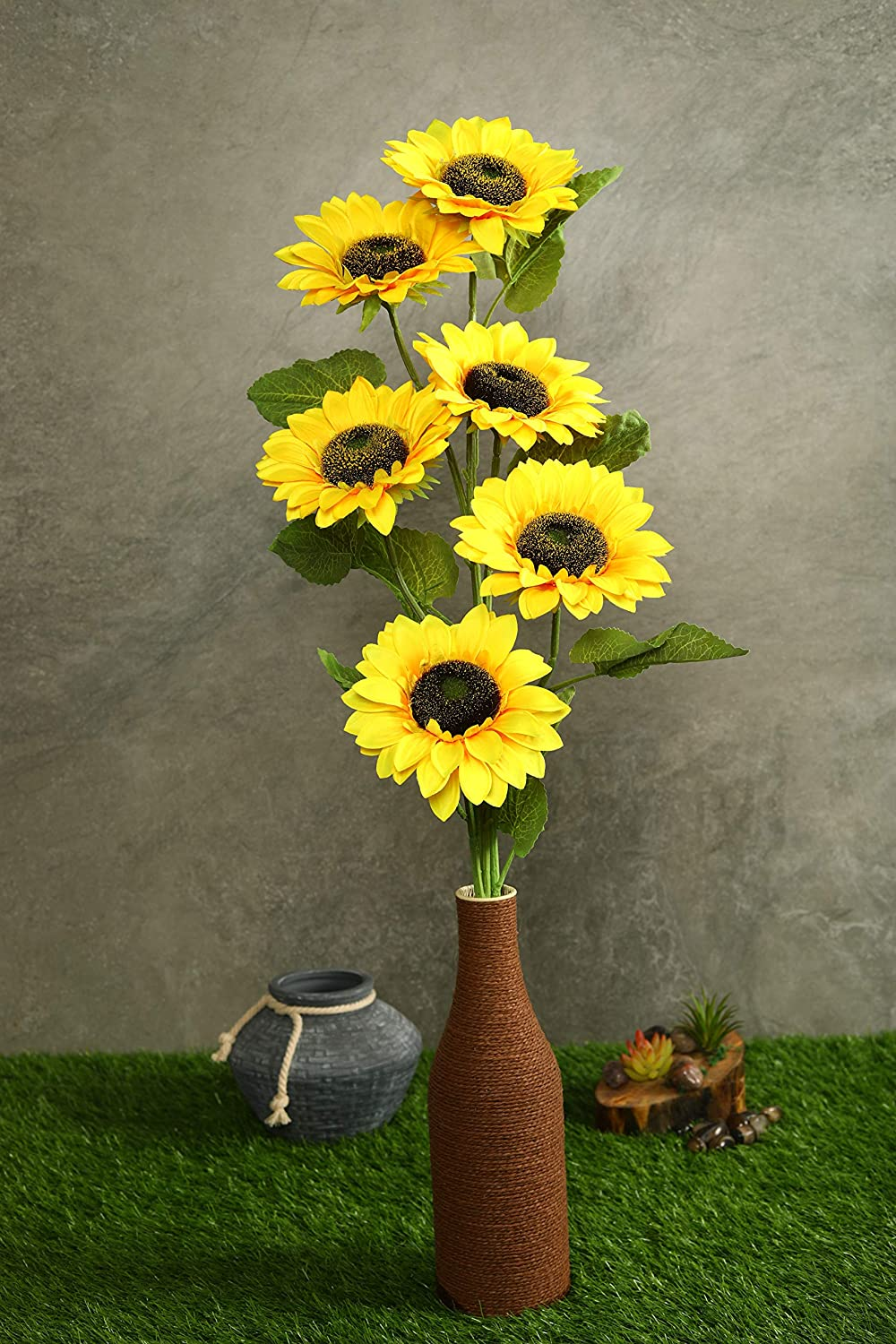 PolliNation Decorative Natural Looking Artificial Yellow Sunflower for Indoor Deocration (Pack of 2, 36 Inch) - Artificial Flowers & Plants - PolliNation