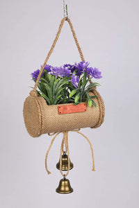 PolliNation Beautiful Artificial Bonsai in Jute Duffle with Bells for Gifting  (Pack of 1, 40 cm, Pink) - Artificial Flowers & Plants - PolliNation