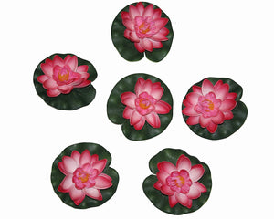 Pollination Light Pink Artificial Floating Lotus Flower for Home Decoration (Pack of 6, Diameter: 4 Inch) - Artificial Flowers & Plants - PolliNation