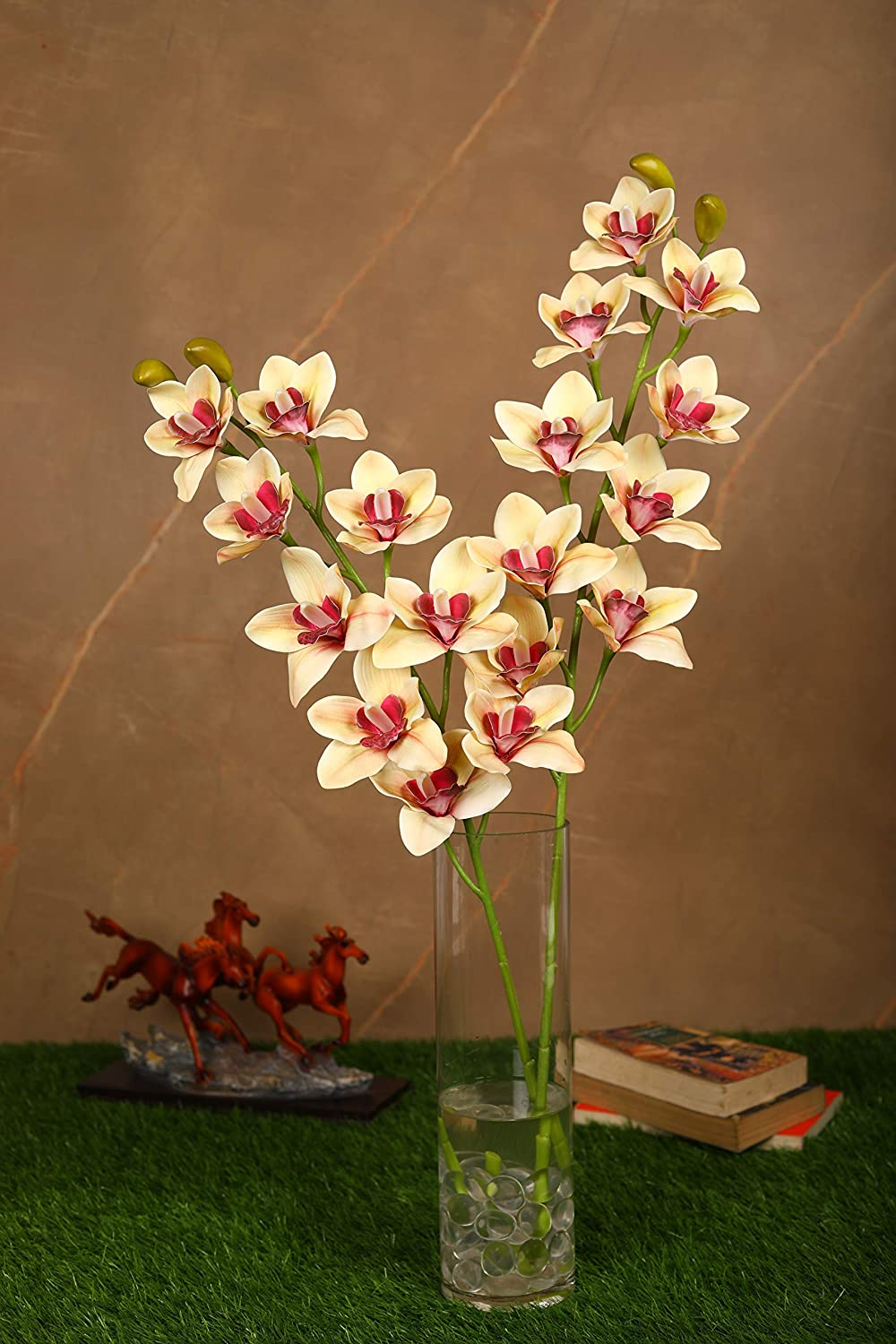 PolliNation Beautiful Artificial Brown Cymbidium Orchid Flower