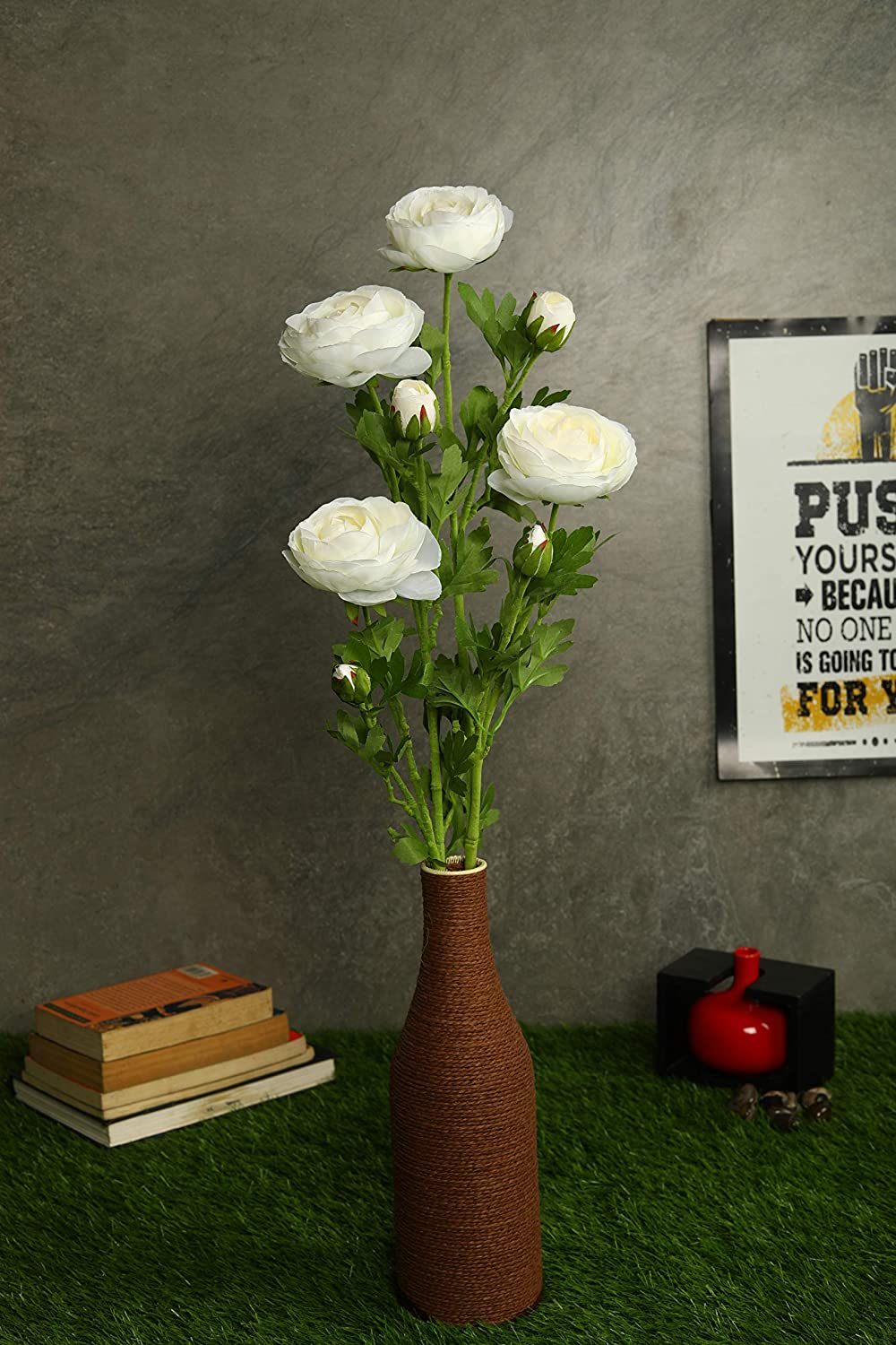 Pollination Decorative White Ranunculus Artificial Flower for Home Decor (Pack of 2, 28 Inch) - Artificial Flowers & Plants - PolliNation