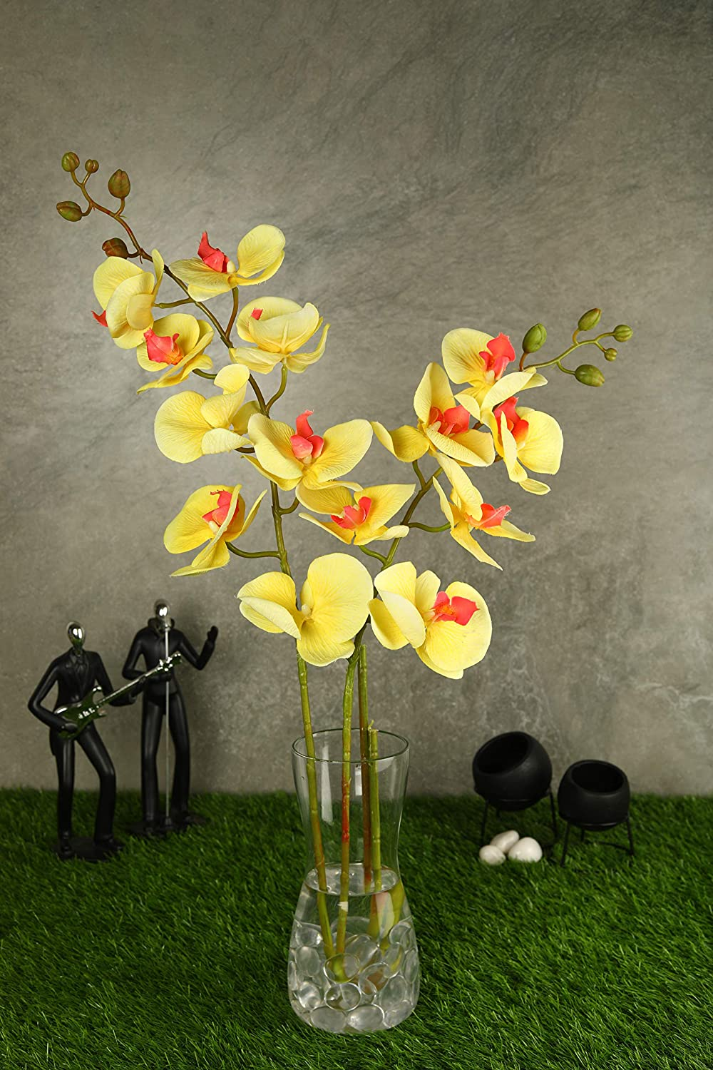 PolliNation Tropical White Artificial Orchid Flower for Indoor (Pack of 2, 39 Inch) - Artificial Flowers & Plants - PolliNation