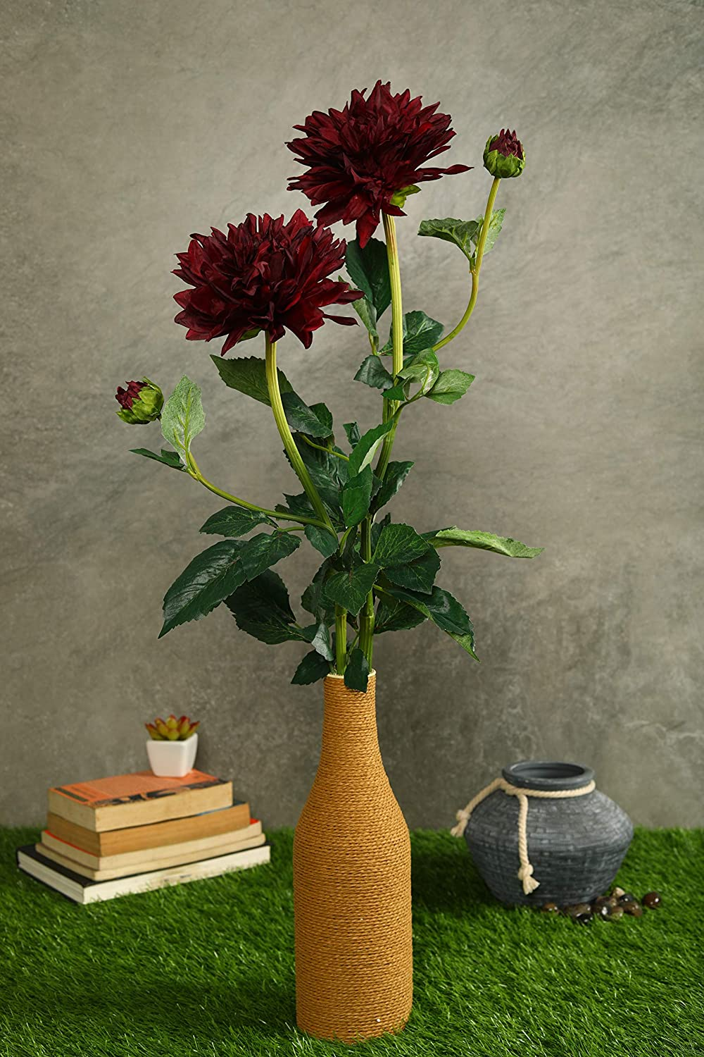 PolliNation Decorative Natural Looking Dahlia Artificial Flower for Home Decor (Pack of 2, 30 INCH) - Artificial Flowers & Plants - PolliNation