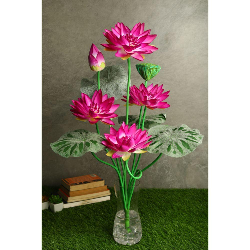 PolliNation Exquisitive Artificial Dark Pink Lotus Plant for Home/Office (Pack of 1, 32 INCH) - Artificial Flowers & Plants - PolliNation