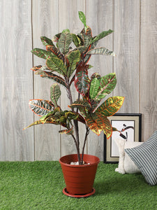 Artificial Croton Plant Without Pot for Indoor Decoration