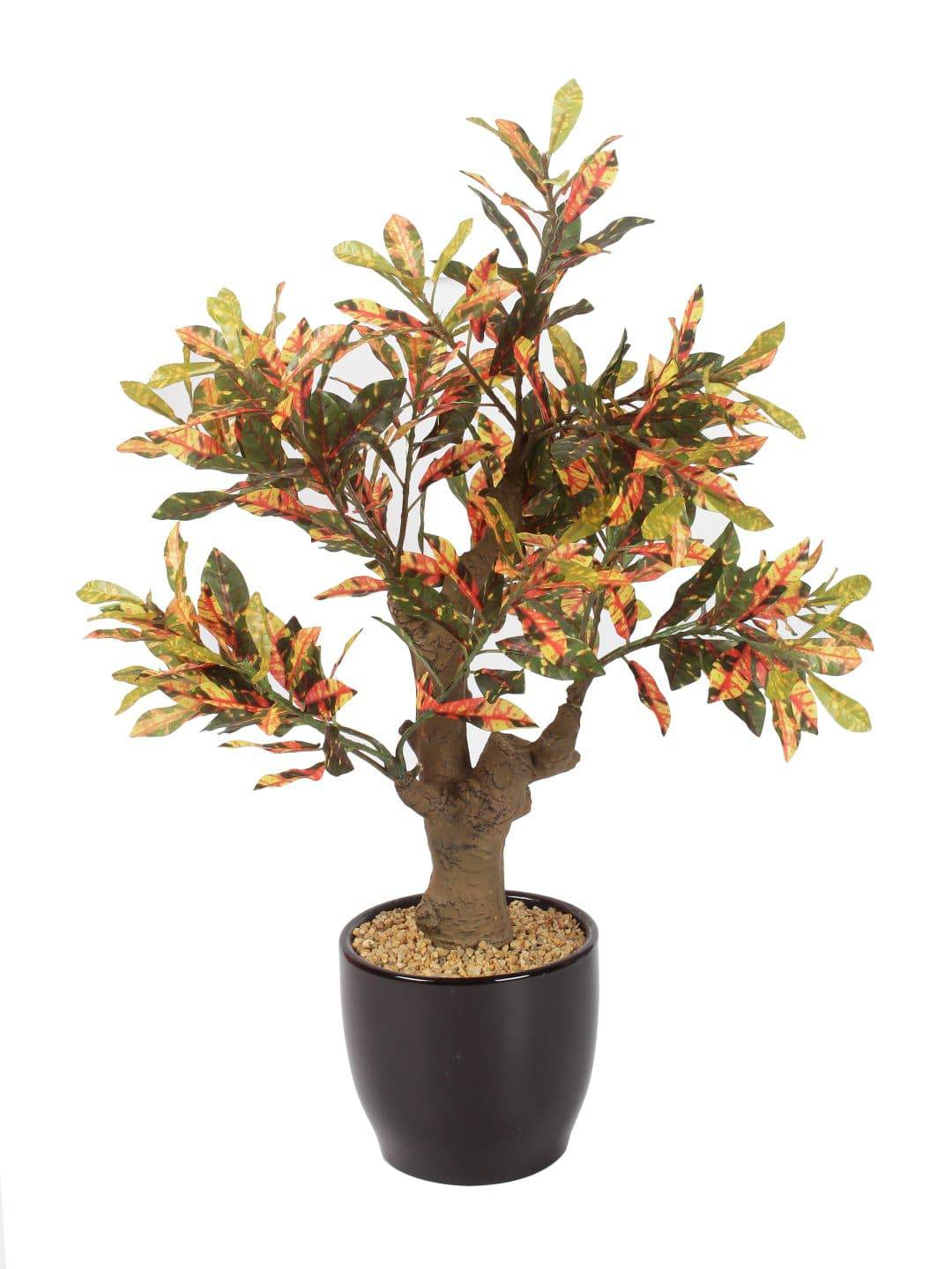 PolliNation Stunning Artificial Red Croton Bonsai with Black Ceramic Pot for Home,Office, Restaurant, Hotel, Party, Balcony, Garden Décor, Indoor (Pack of 1, 15 Inch) - Artificial Flowers & Plants - PolliNation