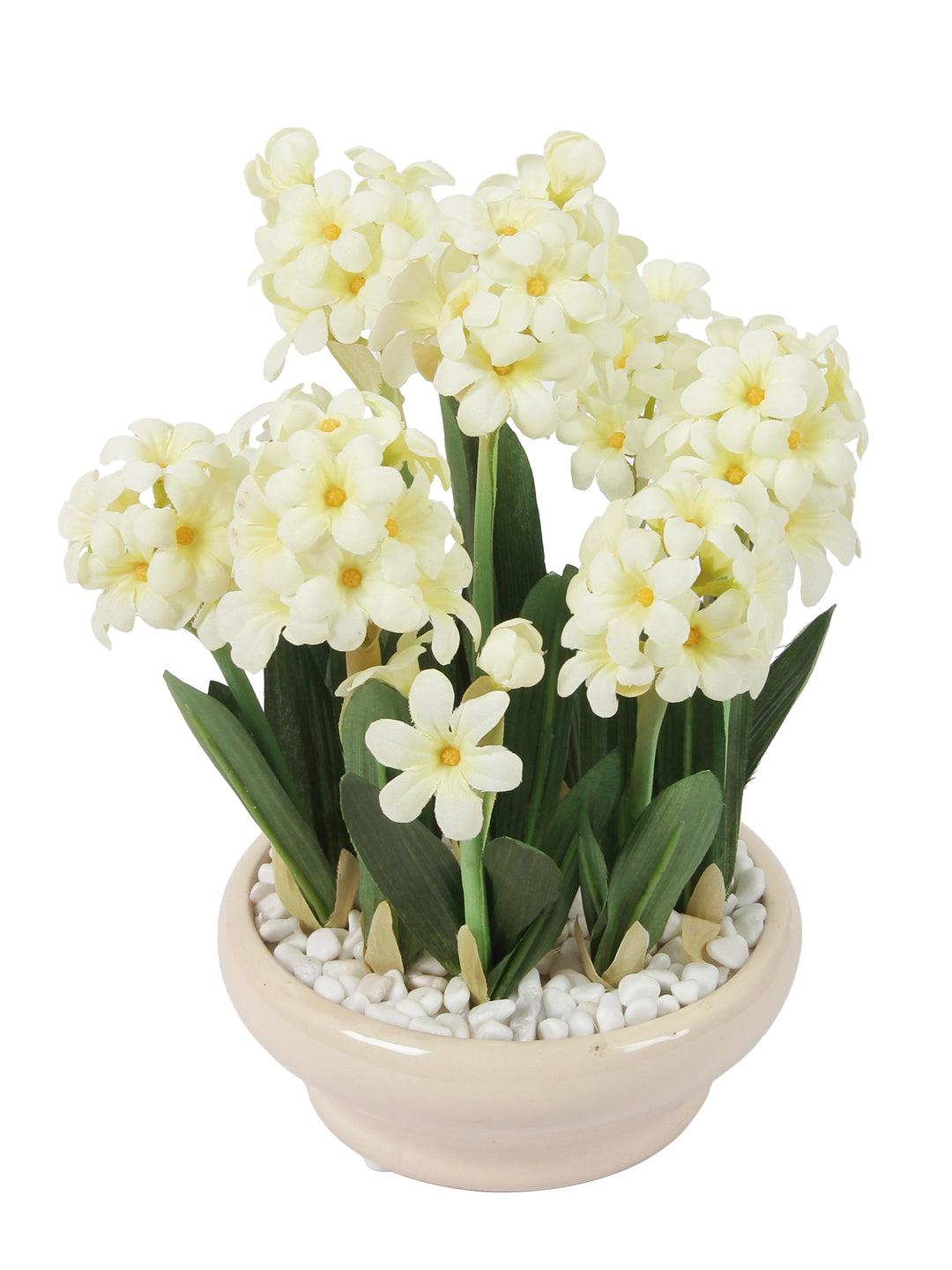 Artificial Flower Bunch with White Pebbles & Ceramic Pot
