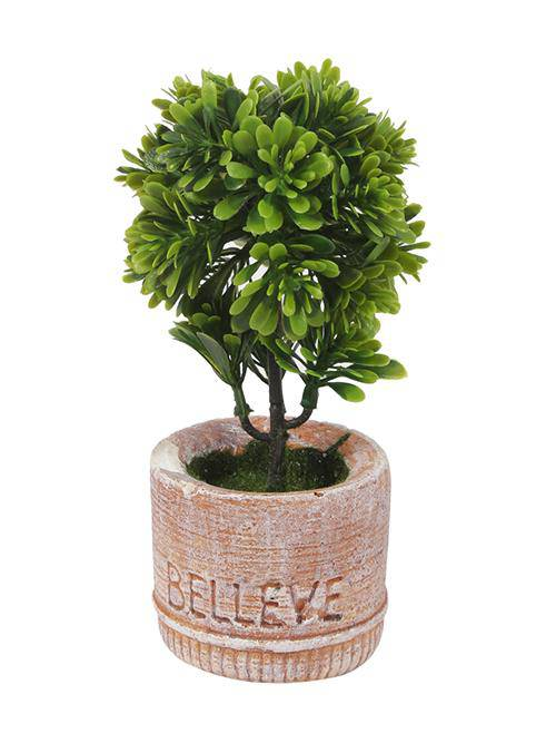 PolliNation Decorative Artificial Yellow Bonsai with Grey Resin Pot for Gifting Home Decor (Pack of 1, L 9 x W 9 X H 20 cm )