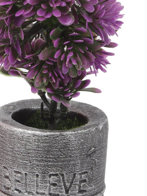 PolliNation Decorative Artificial Yellow Bonsai with Grey Resin Pot for Gifting Home Decor (Pack of 1, L 9 x W 9 X H 20 cm ) - Artificial Flowers & Plants - PolliNation