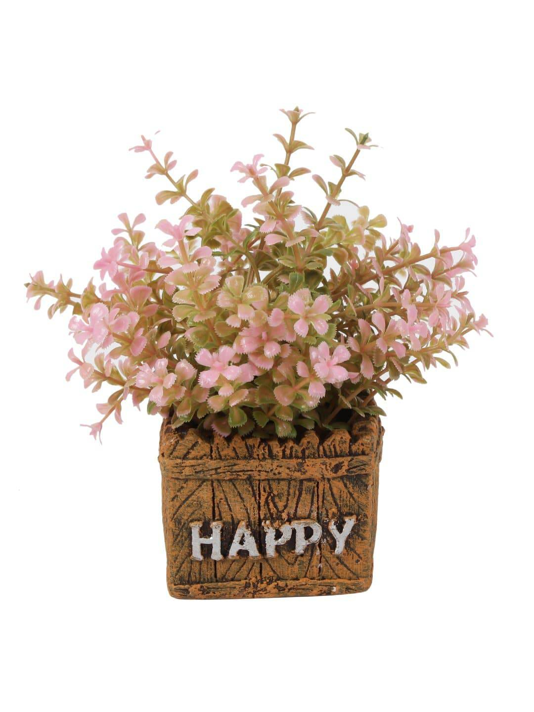 PolliNation Artificial Pink Bonsai with Brown Resin Pot for Gifting Home Decor (Pack of 1, 7 inch) - Artificial Flowers & Plants - PolliNation