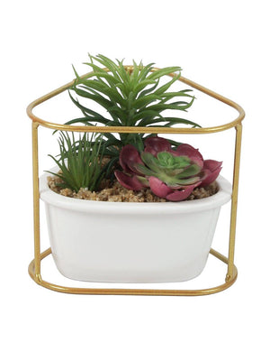 PolliNation  Artificial Succulent Red Bonsai With Metal Stand and Ceramic Pot - Artificial Flowers & Plants - PolliNation
