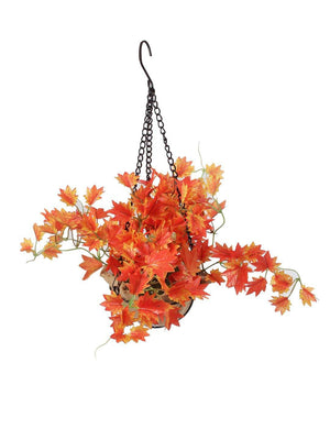 PolliNation Alluring Orange Maple Artificial Creeper in Jute Basket with Hanging Metal Stand for Balcony Garden Home Decoration (Pack of 1, 40 cm) - Artificial Flowers & Plants - PolliNation
