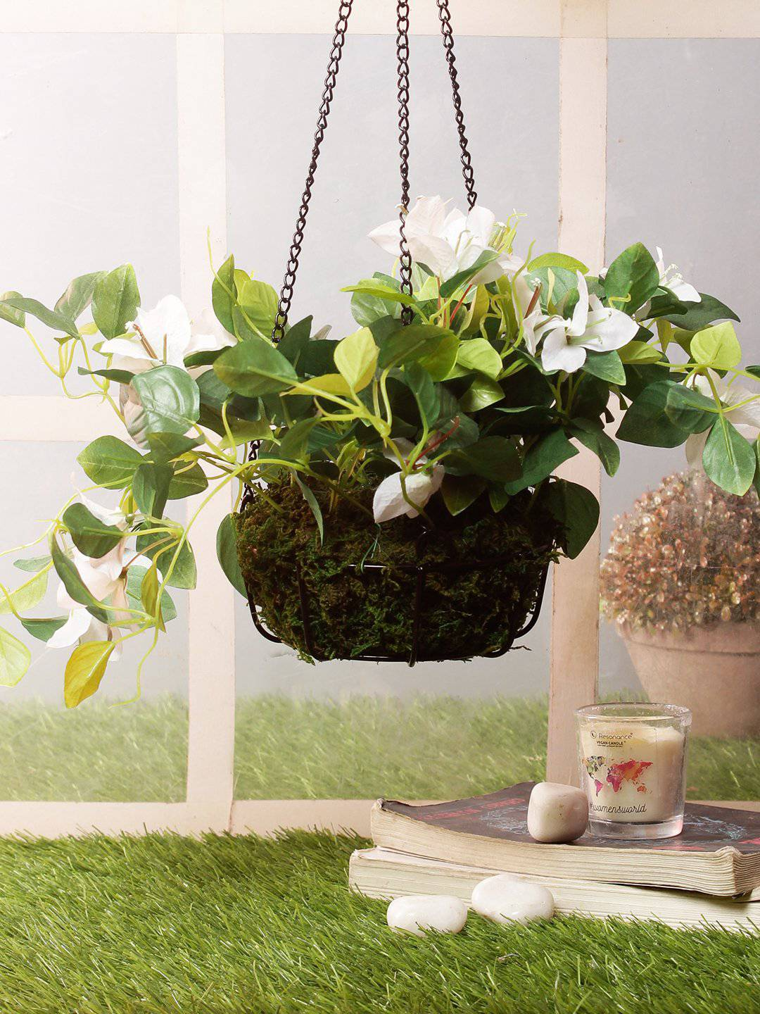 PolliNation Attractive Stunning Artificial White Bougainvillea Creeper with Hanging Metal Stand For Home/Office/Balcony Decor (Pack of 1, 40 cm) - Artificial Flowers & Plants - PolliNation