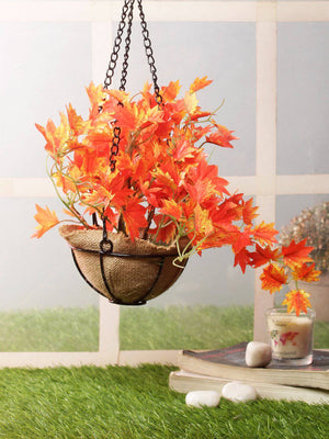 PolliNation Alluring Orange Maple Artificial Creeper plant in Jute Basket with Hanging Metal Stand (Pack of 1)
