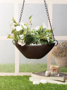 Artificial Creepers with Flowers Morning Glory - With Hanging Ceramic Pot