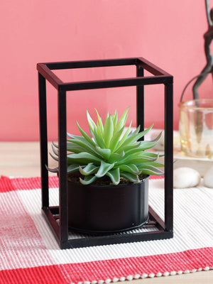 Artificial Red Succulent Plant in Black Metal Stand