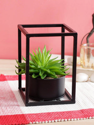 PolliNation Artificial Red Succulent in Black Metal Stand for Gifting , Home Decor(Pack of 1, 16 cm) - Artificial Flowers & Plants - PolliNation