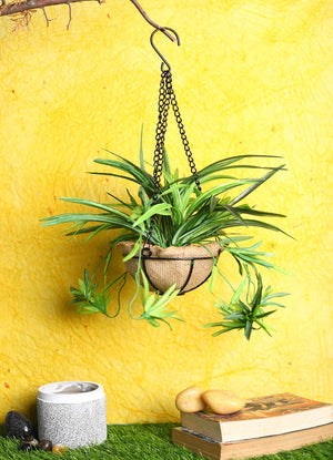 Pollination Artificial Green Baby Spider Bush in Jute Planter with Hanging Metal Stand