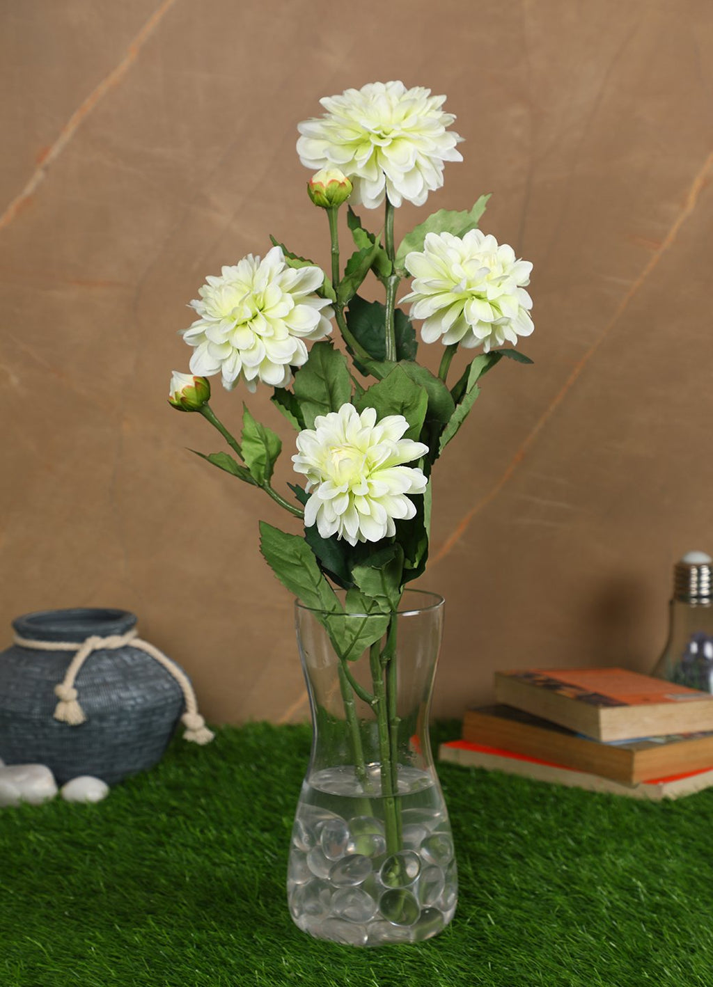 Pollination Stunning White Dahlia Artificial Flower for Home Decor (Pack of 2, H:  27 Inch ) - Artificial Flowers & Plants - PolliNation