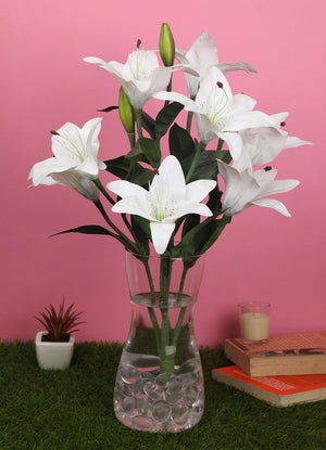 PolliNation Attractive Splendid Light Pink Lily Artificial Flower Bunch for Office Decoration (Pack of 1, 20 Inch) - Artificial Flowers & Plants - PolliNation