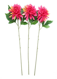 Pollination Decorative  Pink Dahlia Artificial Flower For Home Decoration (Pack of 3) - Artificial Flowers & Plants - PolliNation