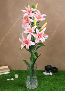 Pollination Decorative Artificial Pink Lily Flower for Decoration
