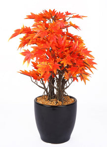 PolliNation Decorative Artificial Green Maple Bonsai with Black Ceramic Pot