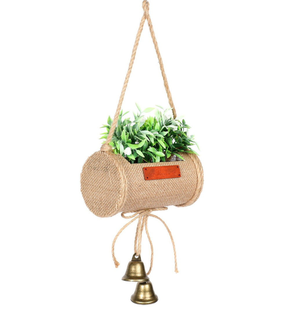 Pollination Decorative Artificial Hanging Bonsai in Jute Duffle