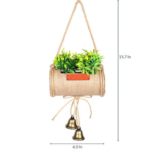 Pollination Decorative Artificial Hanging Bonsai in Jute Duffle with Bells for Gifting (Pack of 1, 40 cm, Purple) - Artificial Flowers & Plants - PolliNation