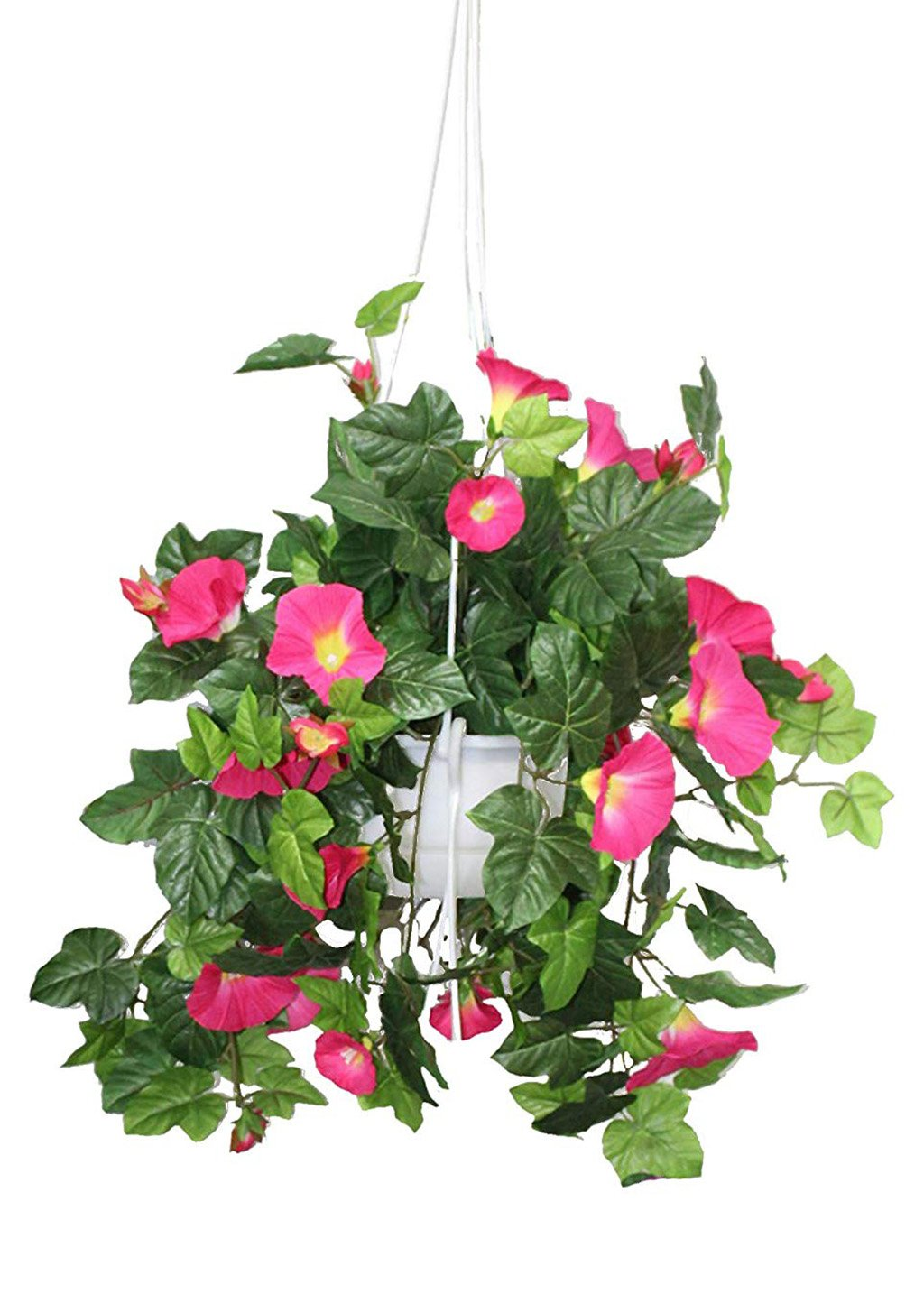 _ Artificial Morning Glory Creeper -PINK Artificial Plant with Pot (51 cm, Red)