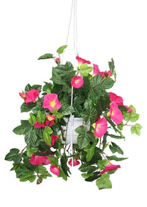 Artificial Creepers and climbers flowers Morning Glory Creeper for Balcony  -PINK Artificial Plant with Pot (51 cm, Red) - Artificial Flowers & Plants - PolliNation