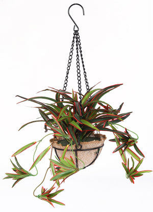 Pollination Stunning Artificial Green Baby Spider Bush in Jute Planter with Hanging Metal Stand For Balcony Garden Home (Pack of 1, 40 cm) - Artificial Flowers & Plants - PolliNation