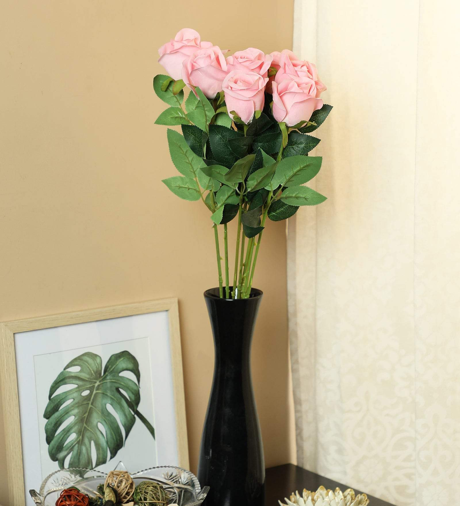 PolliNation Stunning Pink Rose Artificial Flower for Home (Pack of 7, 25 INCH) - Artificial Flowers & Plants - PolliNation