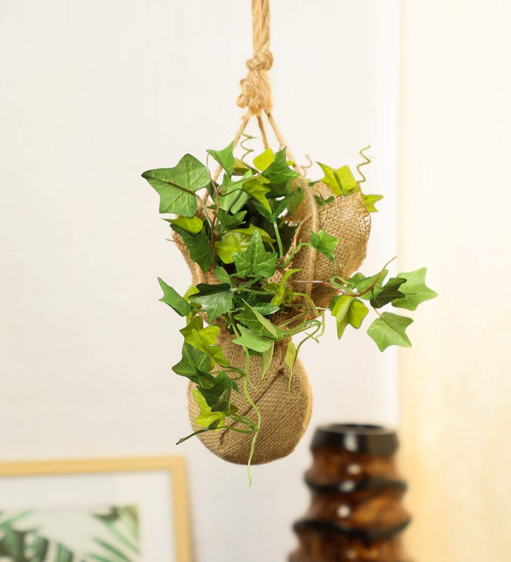Beautiful Artificial White Ivy Creeper Bonsai with Jute Bag for Balcony (Pack of 1)