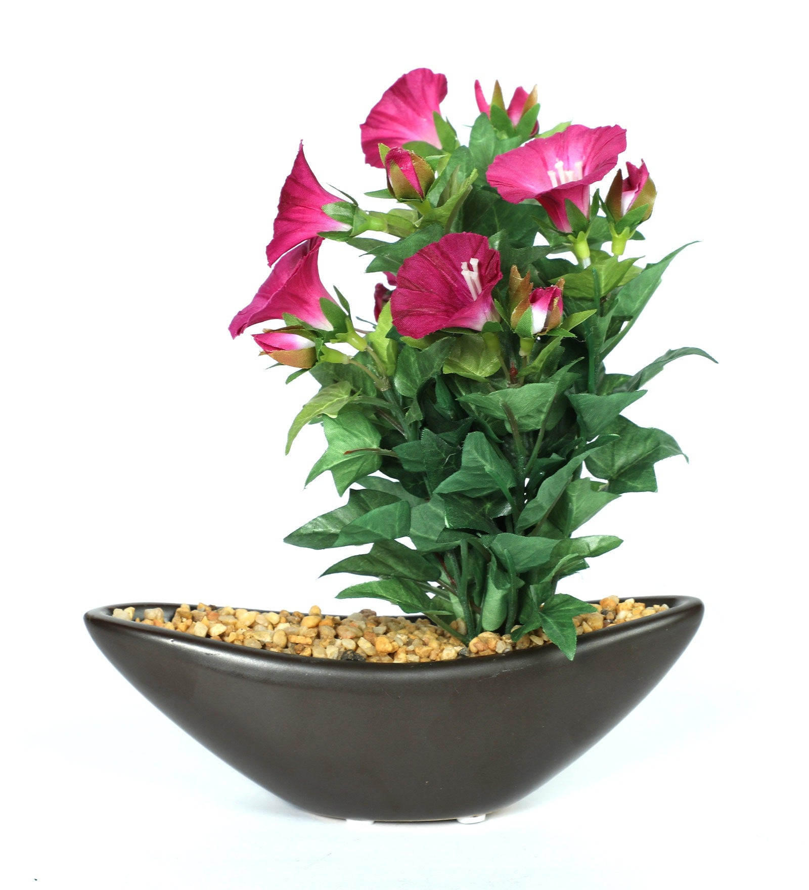 PolliNation Artificial Morning Glory Bonsai With Brown Ceramic Pot (Pack of 2)