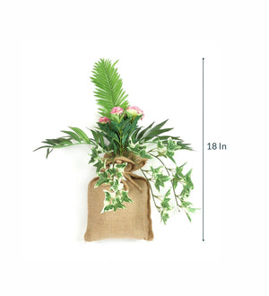 Artificial Hanging Bonsai in Jute Bag for Balcony Garden Decoration ( L 18 X H 30 cm ) - Artificial Flowers & Plants - PolliNation