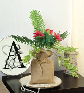 Artificial Hanging Bonsai in Jute Bag for Home Garden Balcony Decoration - Artificial Flowers & Plants - PolliNation