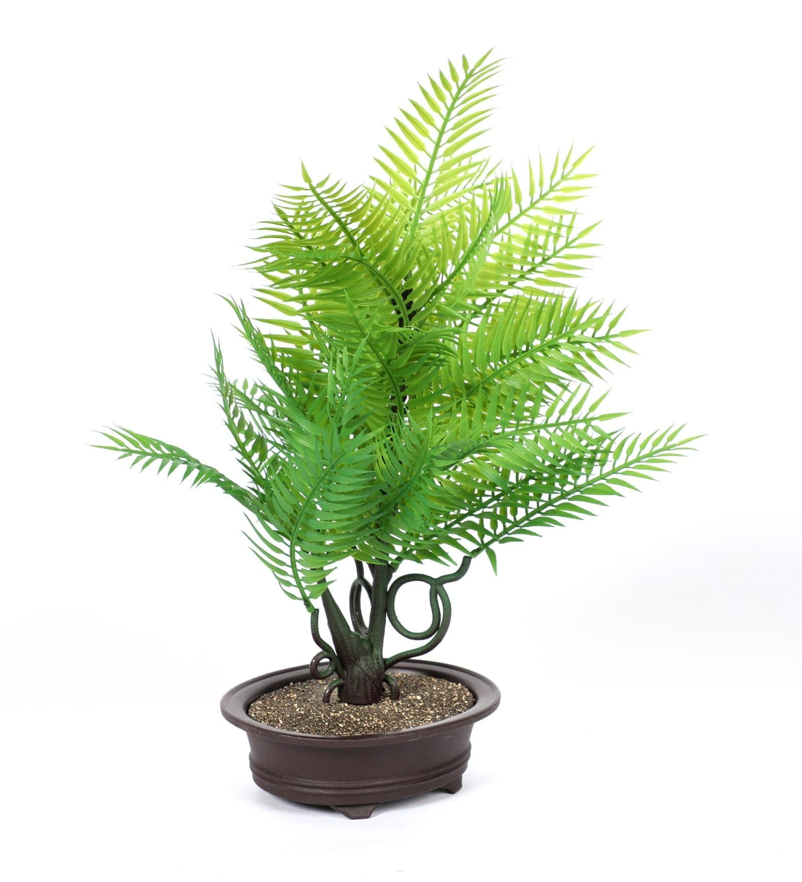 PolliNation Artificial Yellow Palm Bonsai with Brown Fiber Pot for Gifting (Pack of 1, 40 cm) - Artificial Flowers & Plants - PolliNation