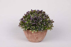 PolliNation Enticing Artificial Topiary Bonsai with Fiber Pot for Home Office Restaurant Garden Gifting (Pack of 1, 12 cm, Purple) - Artificial Flowers & Plants - PolliNation