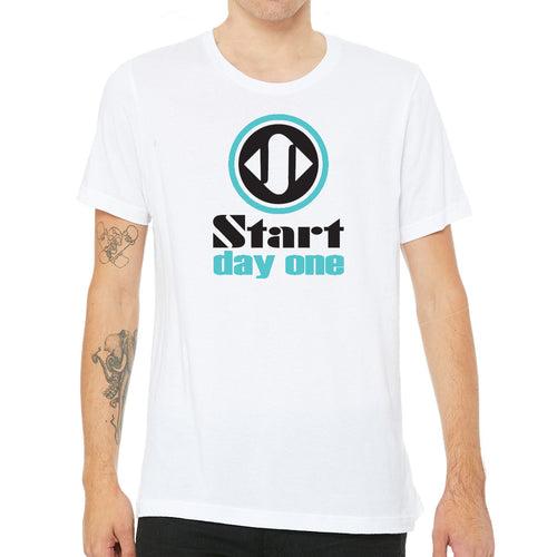 Start Day One | Traditional Logo Design on White Crew Neck T-Shirt