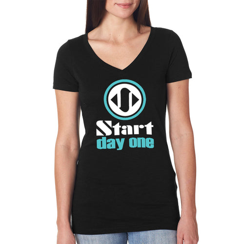 Start Day One | Horizontal Logo on Women's Black V-Neck T-Shirt