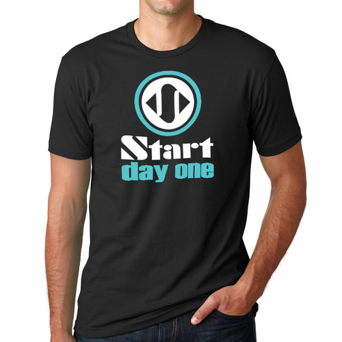 Start Day One | Traditional Logo Design on Black Crew Neck T-Shirt