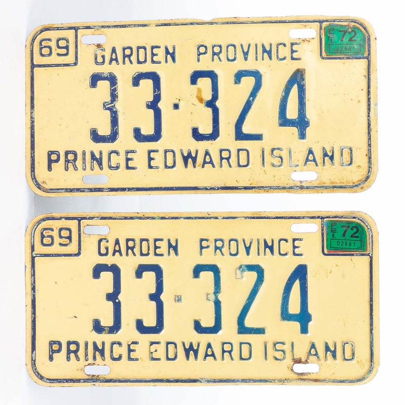 Pair of 1969 PEI License Plates 72 Sticker